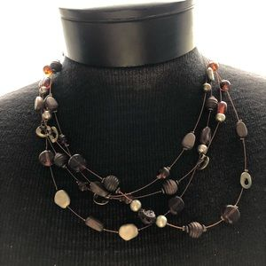 Multi-layered Necklace in Brown